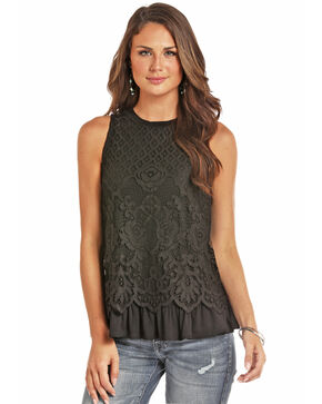 Rock & Roll Cowgirl Women's Black Lace Ruffle Top, Black, hi-res
