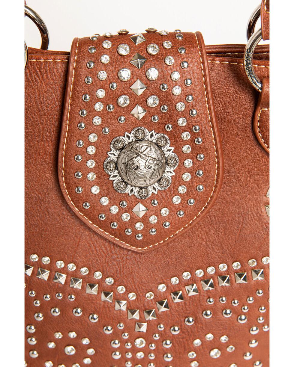 Shyanne Women's Rhinestone Swirl Concealed Carry Tote, Brown, hi-res