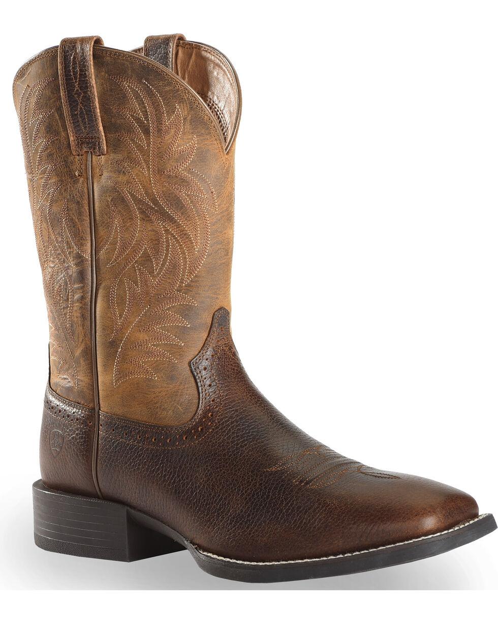 Ariat Sport Western Cowboy Boots - Square Toe, Brown, hi-res