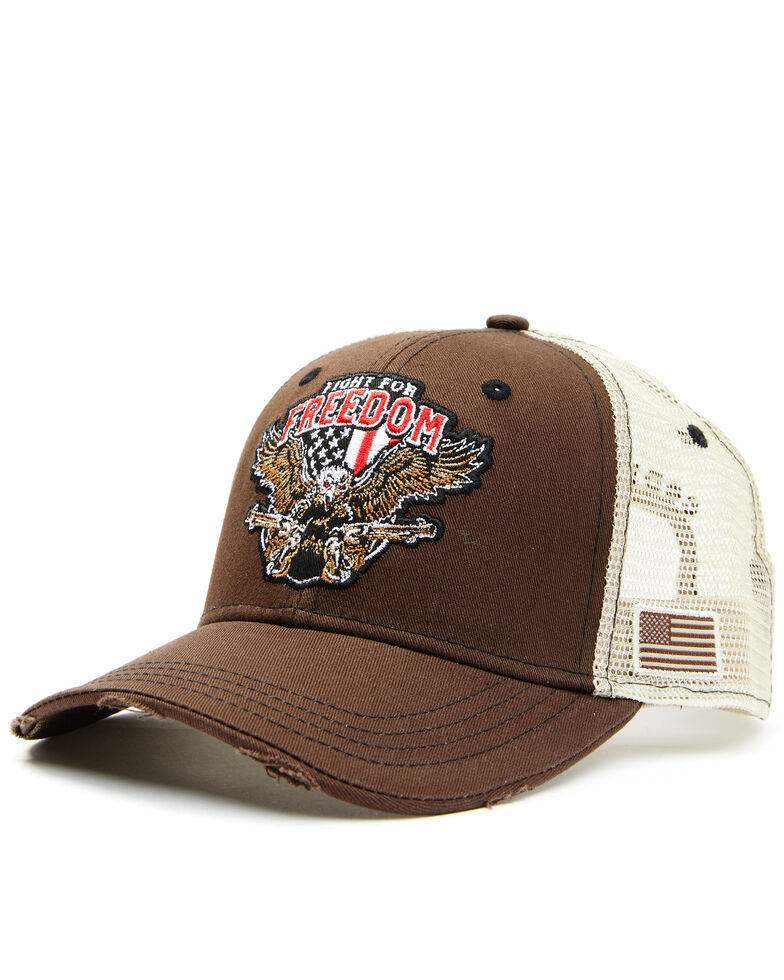 Cody James Men's Fight For Freedom Patch Mesh Ball Cap , Brown, hi-res
