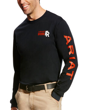 Ariat Men's Black FR Logo Crew Neck Long Sleeve Shirt, Black, hi-res
