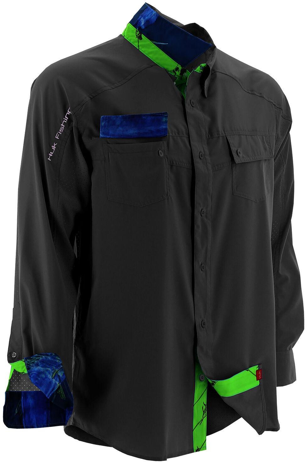 Huk Performance Fishing Men's Next Level Woven Shirt , Black, hi-res