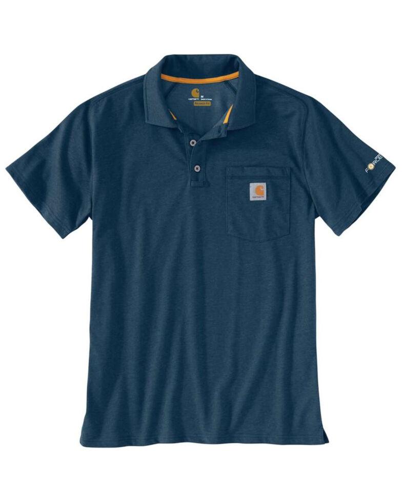 Carhartt Men's Grey Force Cotton Pocket Polo Work Shirt , Blue, hi-res