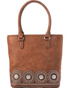 Blazin Ro Womens Rhianna Embellished Tote Bag Brown Hi Res