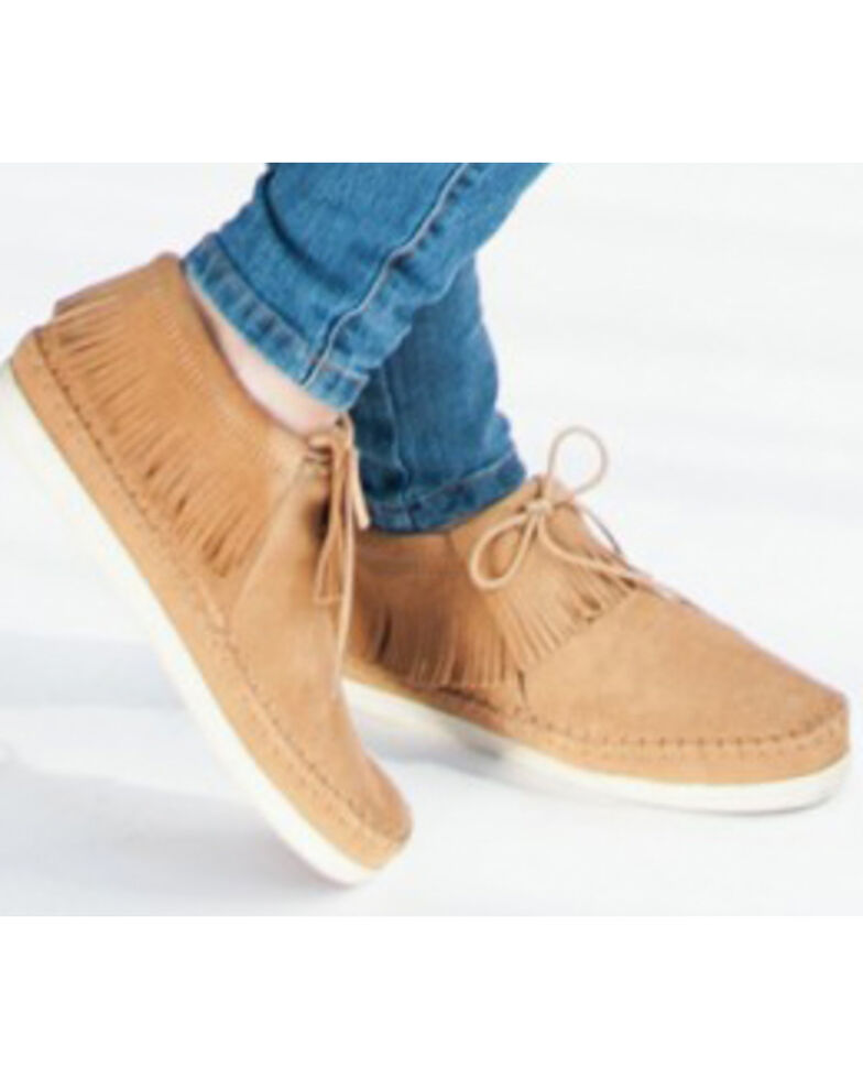 Minnetonka Women's Venice Lace-Up Moccasins, Taupe, hi-res