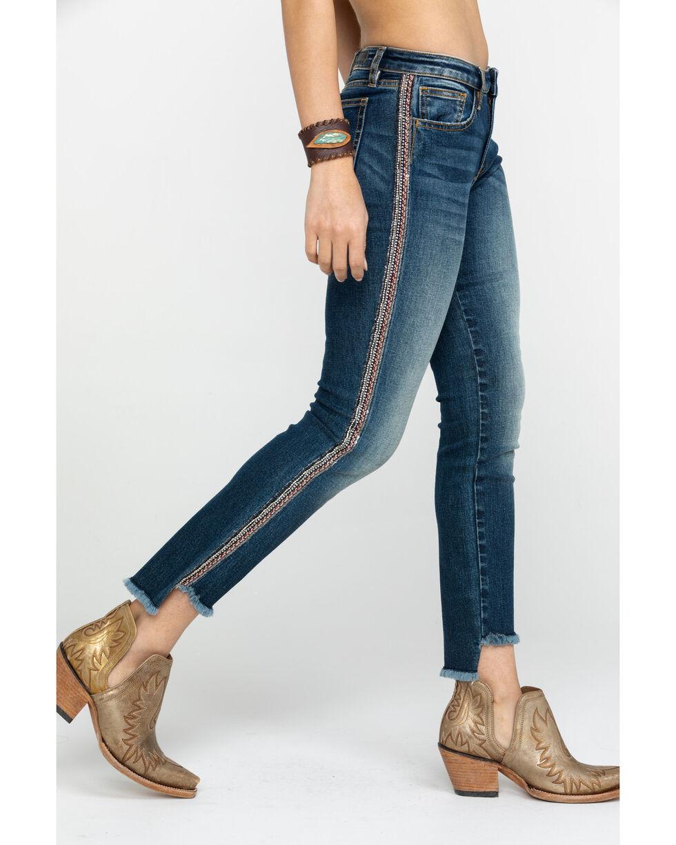 Miss Me Women's Bling Embellished Distressed Ankle Skinny Jeans , Blue, hi-res