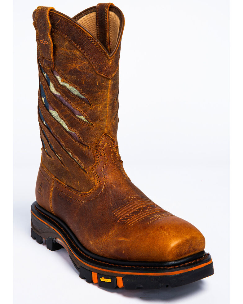 Cody James Men's Ripped Flag Western Work Boots - Composite Toe, Brown, hi-res