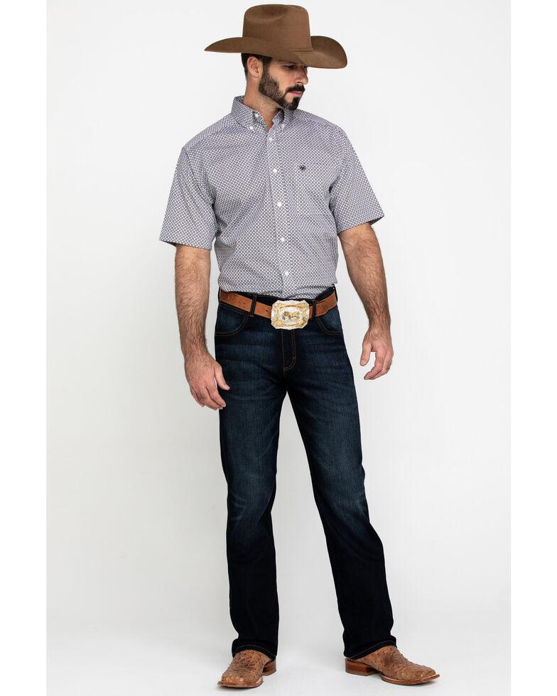 Ariat Men's Kit Stretch Geo Print Short Sleeve Western Shirt - Big , White, hi-res