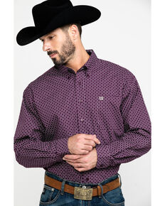 Cinch Men's Purple Square Geo Print Long Sleeve Western Shirt , Purple, hi-res
