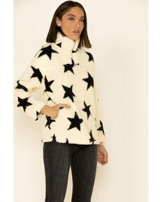 Peach Love Women's Cream Star Print 1/2 Zip Sherpa Pullover , Cream, hi-res