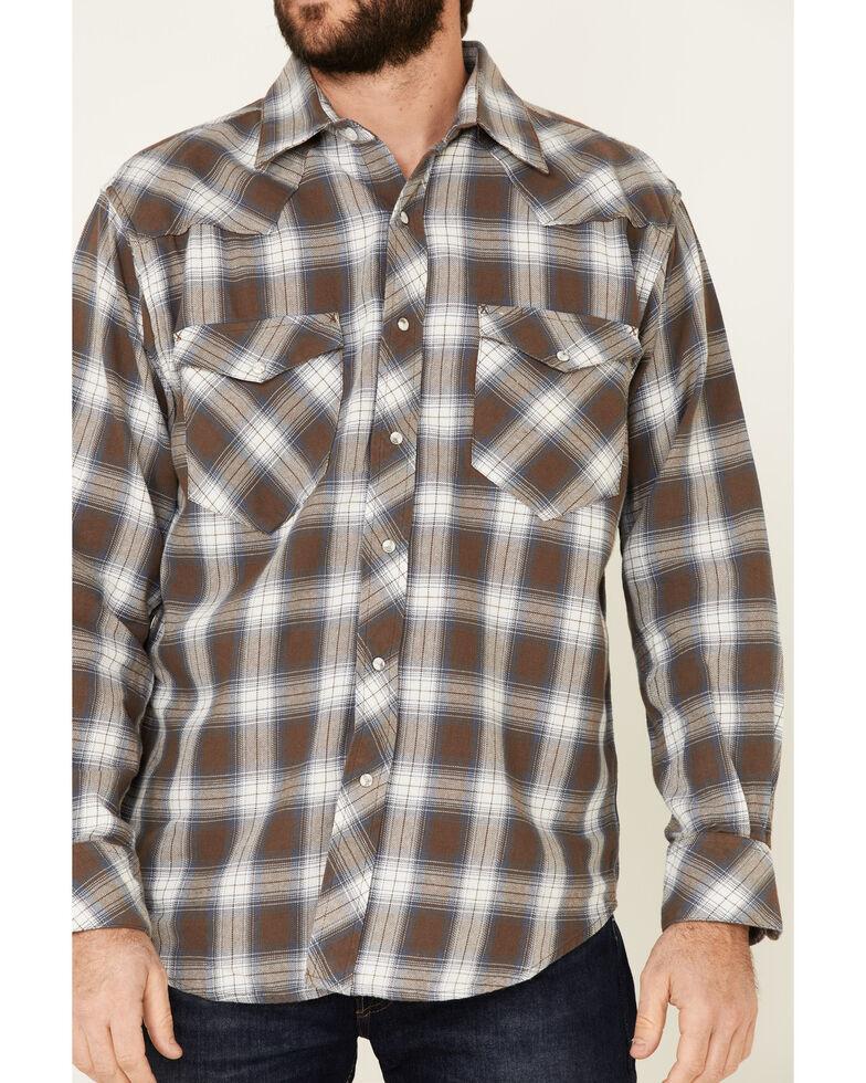 Resistol Men's Brown Cedar Ombre Plaid Long Sleeve Western Shirt , Brown, hi-res