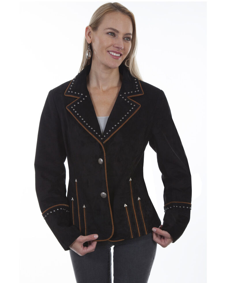 Leatherwear By Scully Women's Arrowhead Studded Piped Suede Blazer , Black, hi-res