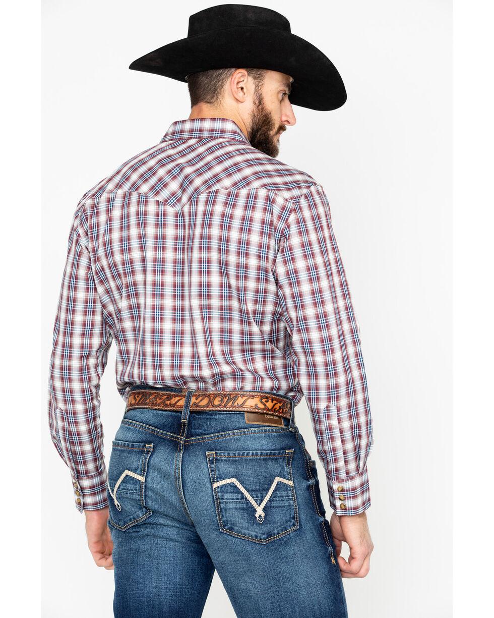 Pendleton Men's Red Herringbone Frontier Snap Long Sleeve Western Shirt , Red, hi-res