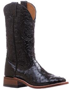 Boulet Women's Ostrich Western Boots - Wide Square Toe, Black, hi-res