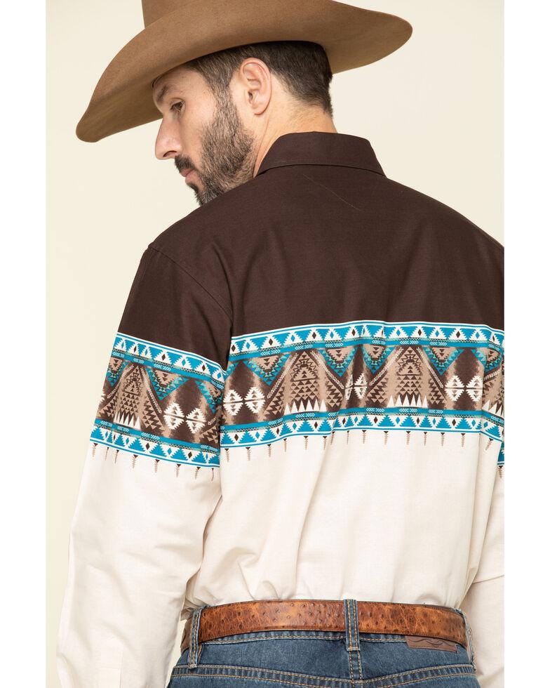 Panhandle Men's Multi Scenic Aztec Border Print Long Sleeve Western Shirt , Brown, hi-res