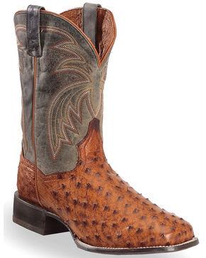 Dan Post Men's Cognac Calhoun Full Quill Ostrich Boots - Square Toe , Cognac, hi-res