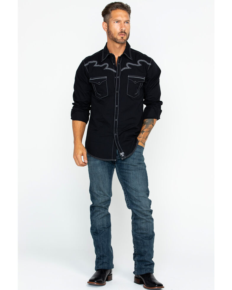 Rock 47 by Wrangler Men's Contrast Stitching Western Shirt , Black, hi-res