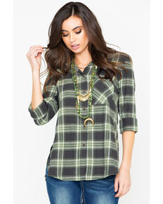 Shyanne Women's Plaid Long Sleeve Split Button Hem Western Shirt , Olive, hi-res