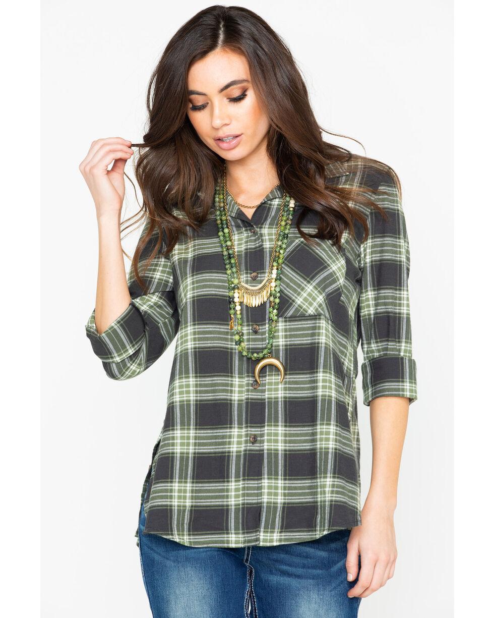Shyanne Women's Plaid Long Sleeve Split Button Hem Western Shirt , Olive, hi-res