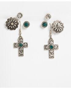 Shyanne Women's Mojave Mix Green Stone Multi Earring Set, Silver, hi-res