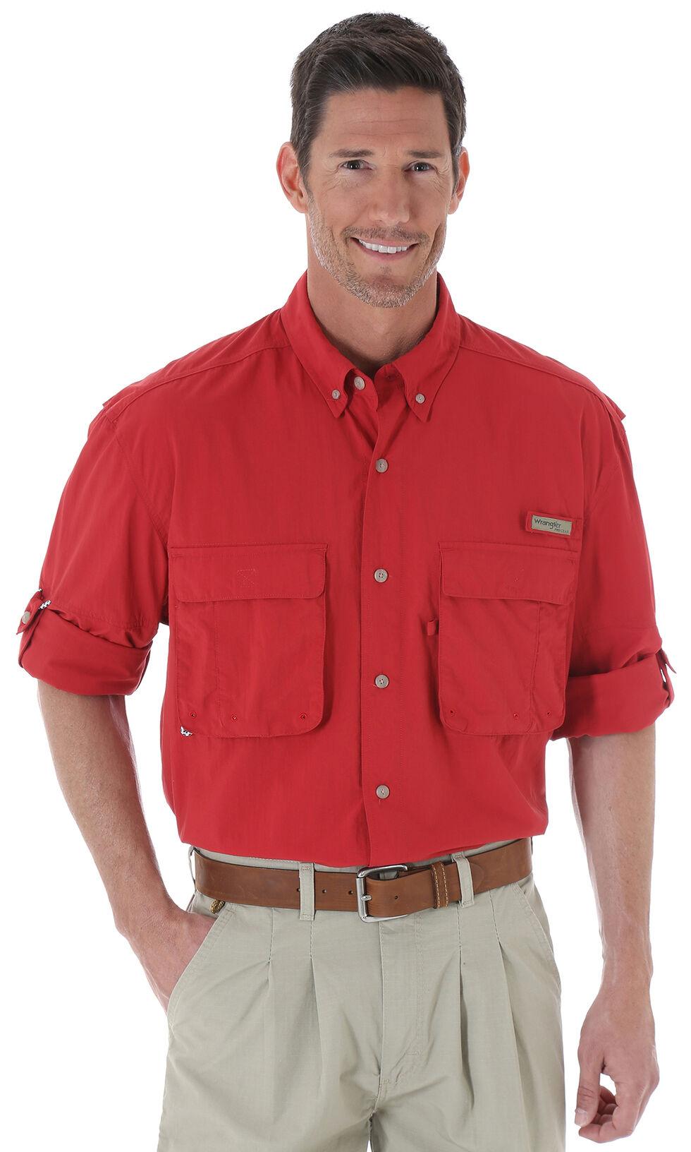 Wrangler Men's ProGear® Long Sleeve Angler Shirt, Red, hi-res