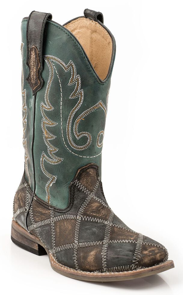 Roper Boys' Patchwork Cowboy Boots - Square Toe, Distressed, hi-res