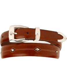 Denver Diamond-Shaped Stud Belt, Brown, hi-res
