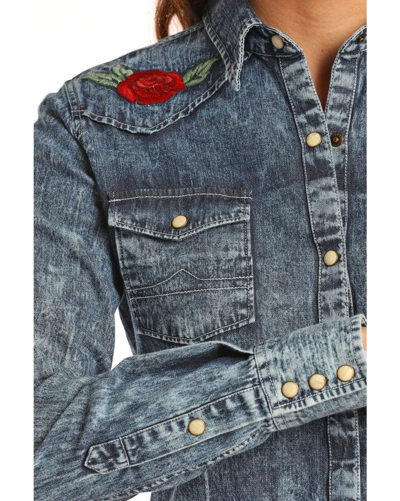 Rock & Roll Cowgirl Women's Denim Rose Embroidered Shirt , Indigo, hi-res