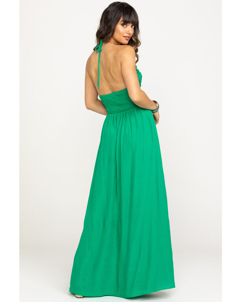 Flying Tomato Women's Green Halter Maxi Dress, Green, hi-res