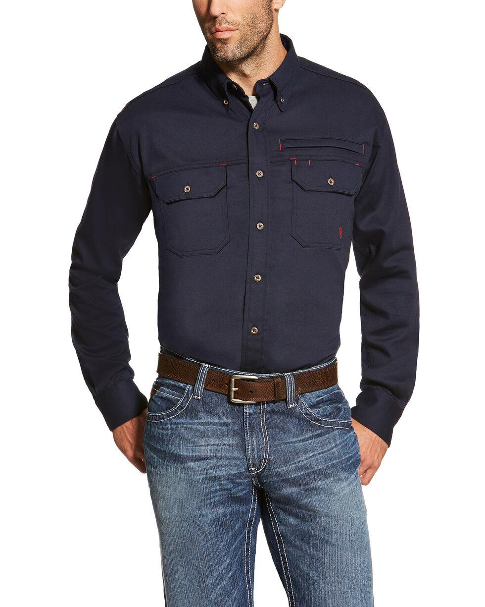 Ariat Men's Navy FR Solid Vent Shirt - Big, Navy, hi-res