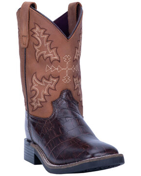Dan Post Boys' Tan Al E. Gator Western Boots - Wide Square Toe, Chocolate, hi-res