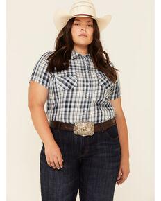 Ariat Women's R.E.A.L Delighful Yarn Dye Plaid Short Sleeve Western Core Shirt - Plus, Blue, hi-res