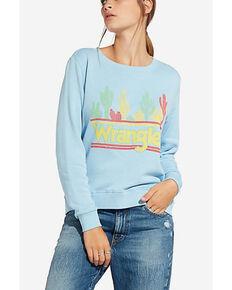 Wrangler Women's Blue Cactus Logo Sweatshirt , Blue, hi-res