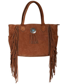 Scully Women's Leather Fringe Studded Handbag, Tan, hi-res