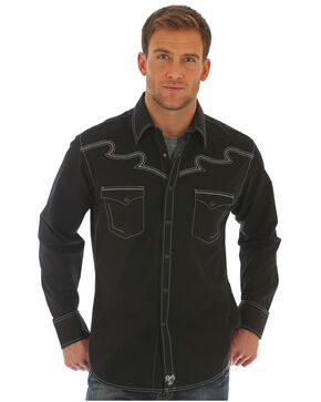 Wrangler Rock 47 Men's Contrast Stitching Western Shirt - Tall, Black, hi-res