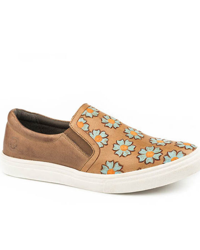 Roper Women's Tooled Flowers Slip-On Shoes - Round Toe, Tan, hi-res