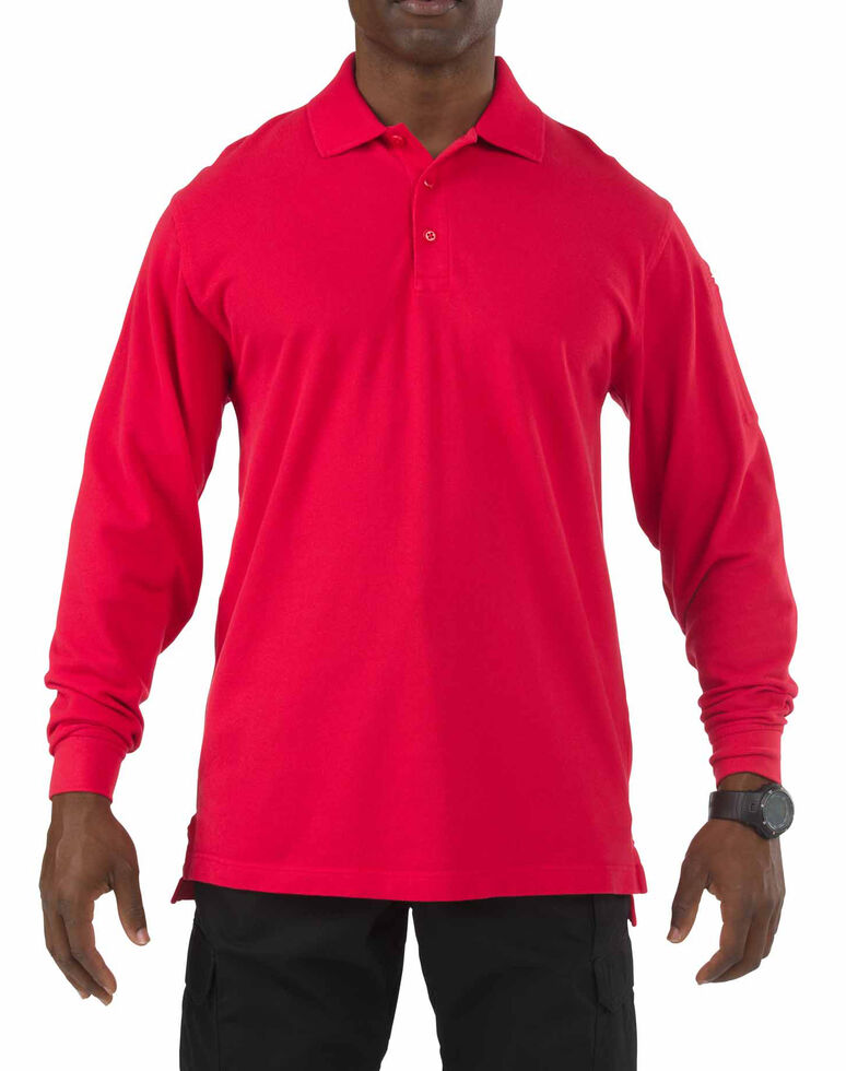 5.11 Tactical Professional Long Sleeve Polo Shirt - 3XL, Red, hi-res