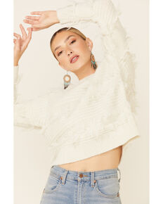 Shyanne Women's Off-White Fringe Pullover Sweater , Off White, hi-res