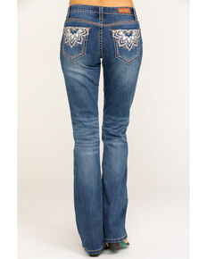 Shyanne Women's Medium Wash Medallion Bling Bootcut Jeans, Blue, hi-res