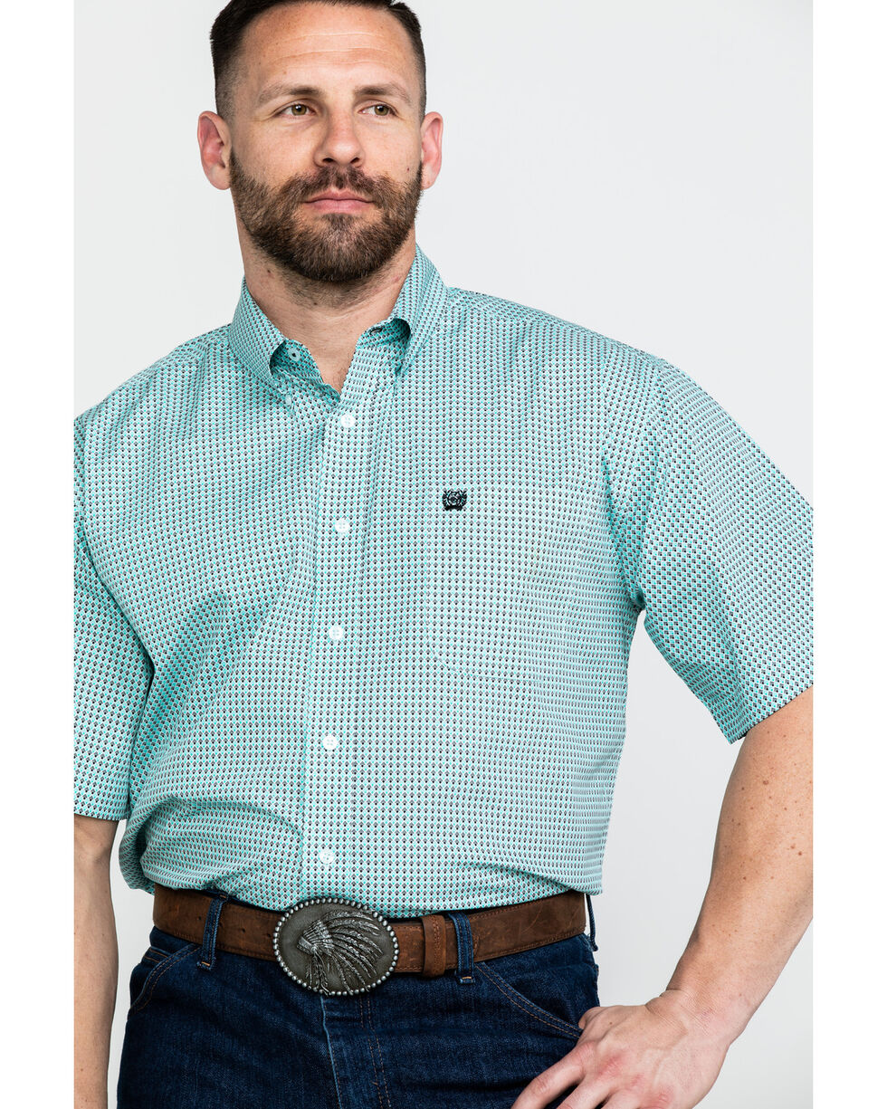 Cinch Men's Diamond Geo Print Short Sleeve Western Shirt , Light Blue, hi-res
