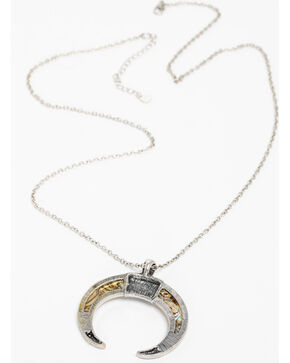 Shyanne Women's Silver Abalone Crescent Necklace, Silver, hi-res