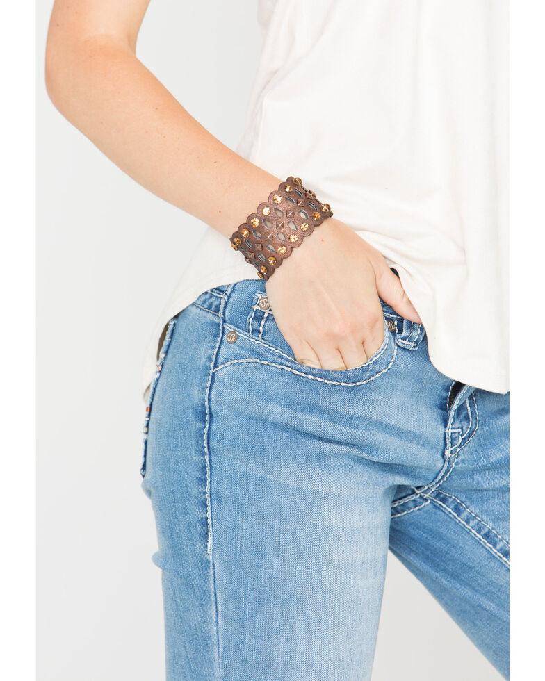 Shyanne Women's Laser Cut Bronze Stud Cuff Bracelet, Brown, hi-res