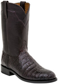 Lucchese Handmade Dustin Belly Caiman Roper Boots - Round Toe , Black Cherry, hi-res