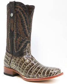 Tanner Mark Men's Gator Belly Print Western Boots - Square Toe, Brown, hi-res