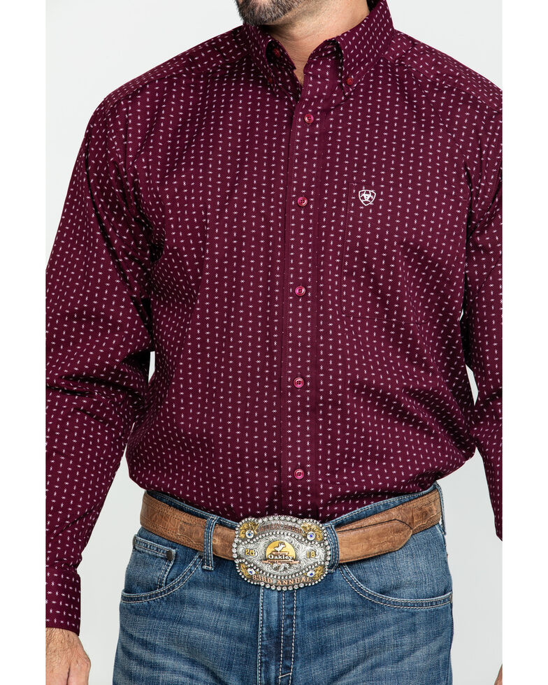 Ariat Men's Frostburg Small Geo Print Long Sleeve Western Shirt , Burgundy, hi-res