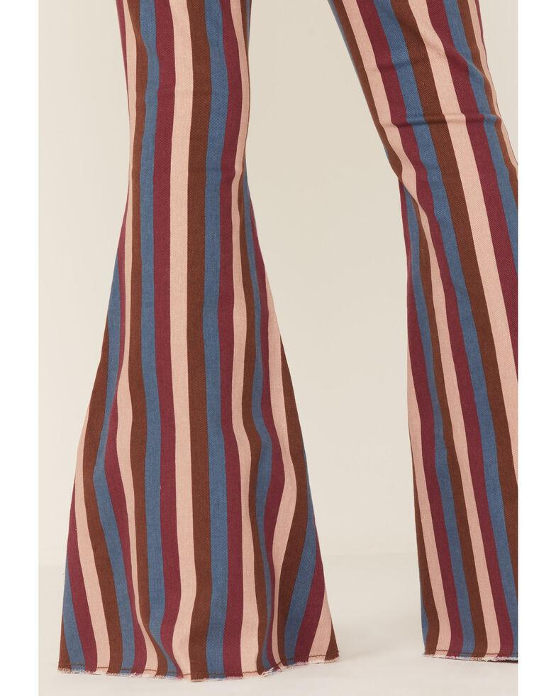 Rock & Roll Denim Girls' Pink Stripe Stretch Bell Bottom Jeans , Pink, hi-res