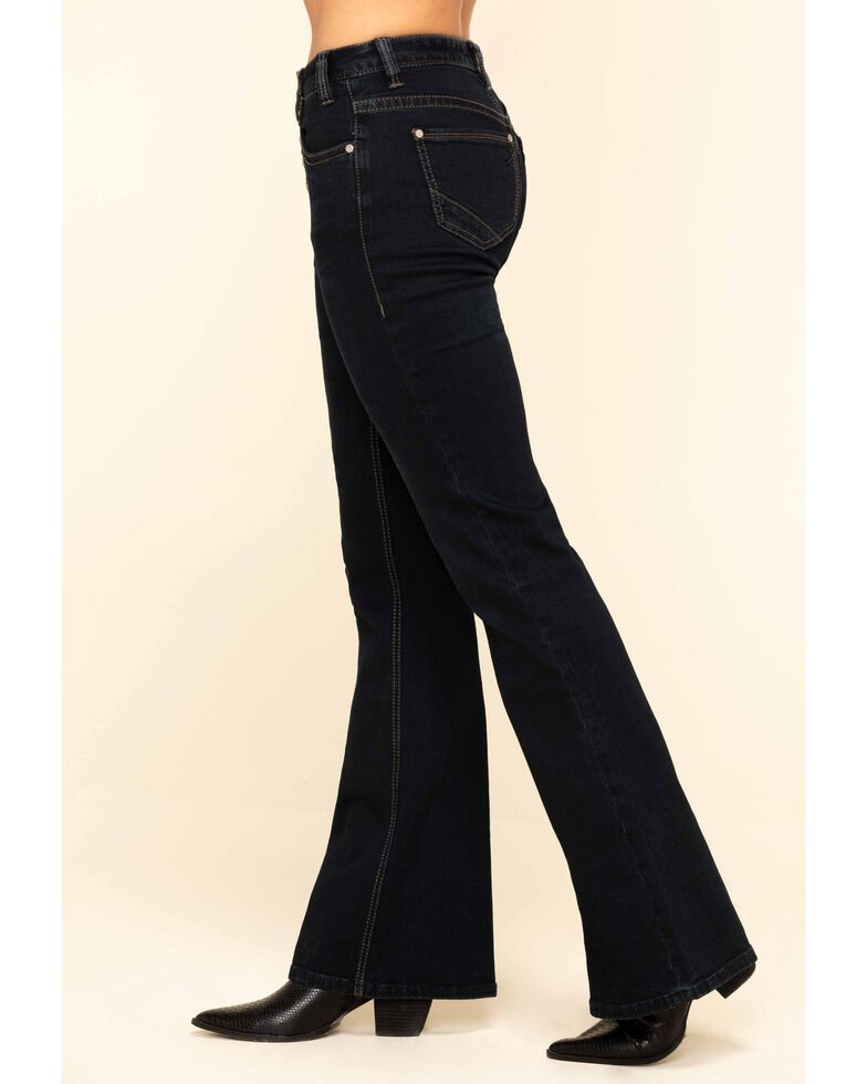 Rock & Roll Denim Women's Dark High Rise Button Trousers, Blue, hi-res