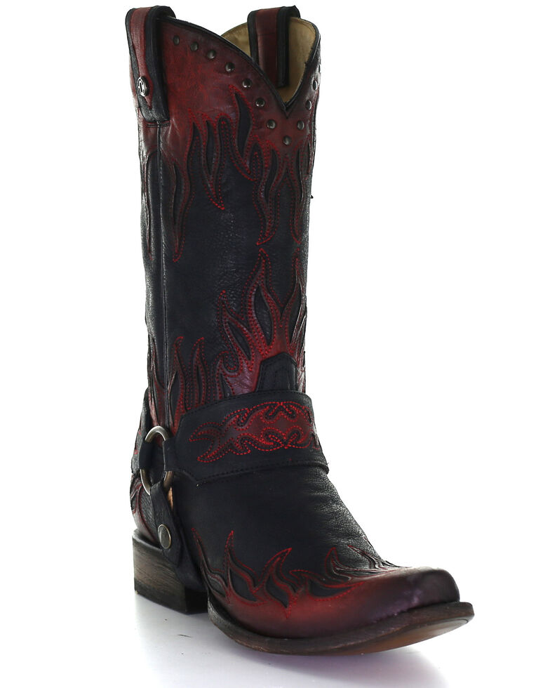 Corral Men's Harness Embroidery Western Boots - Square Toe, Black, hi-res