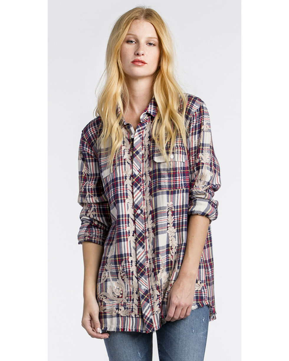 MM Vintage Women's White Floral Embroidered Plaid Shirt , White, hi-res