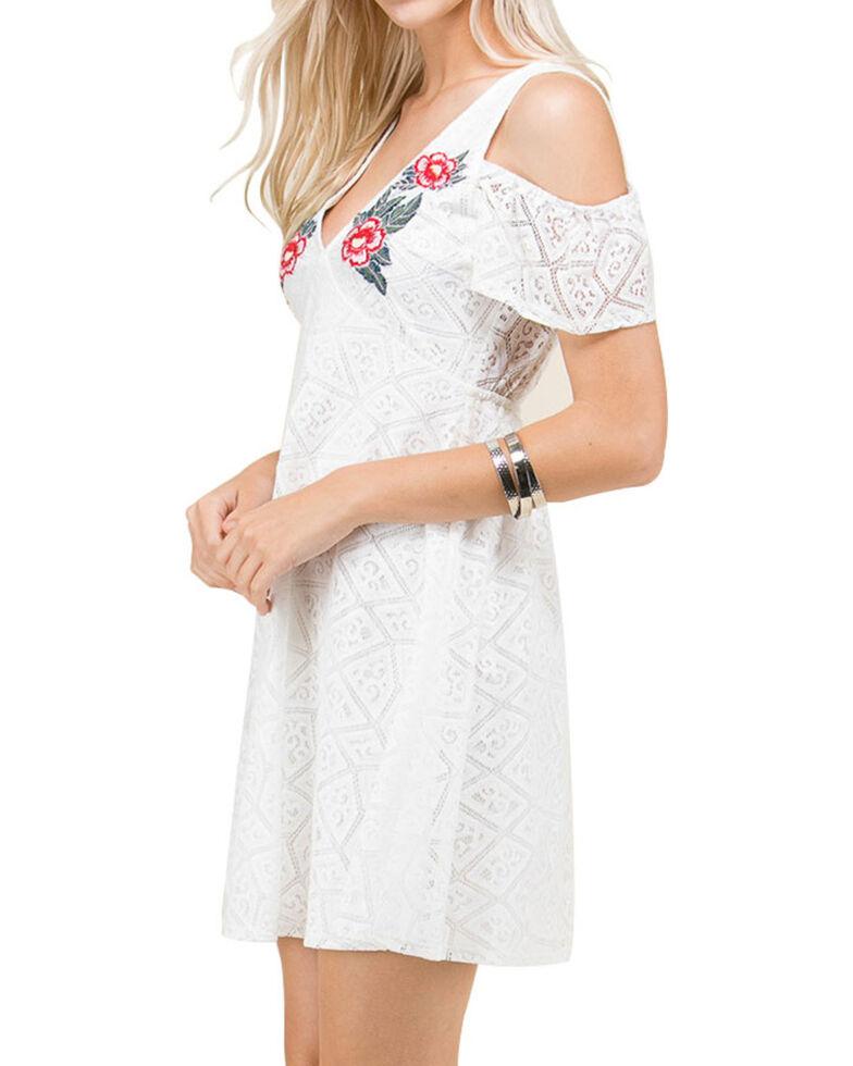 Polagram Women's Floral Embroidered Cold Shoulder Dress, White, hi-res